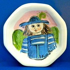 Mary's Blue Hat Small Octagonal Plate by Sue Bolt