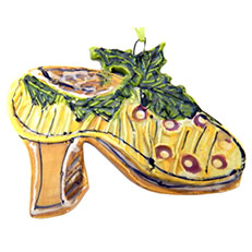 Mistletoe and Holly Shoe Ornament by Lori Bolt