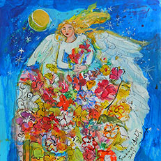 Morning Glory Angel Painting by Sue Bolt