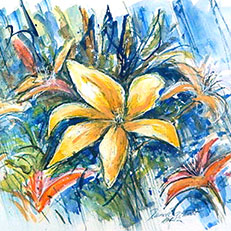 One Lily - Watercolor Painting