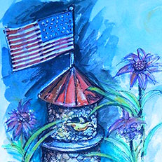 Patriotic Bird House - Painting by Russ Bolt