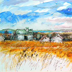 Peninsula Farm - Original Watercolor Painting by Russ Bolt