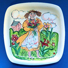 Pickin' Posies - Square Platter by Sue Bolt