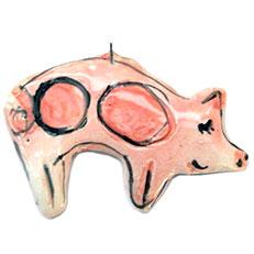Christmas Pig - Ornament by Sue Bolt
