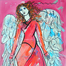 Pink Angel - Painting by Sue Bolt