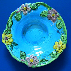 Pond of Flowers Freeform Bowl by Sue Bolt