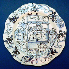 Raw Honey Blue and White Plate by Sue Bolt