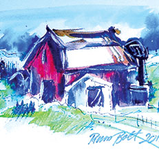 Red Barn - Watercolor Painting