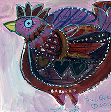 Red Bird Note Card by Sue Bolt