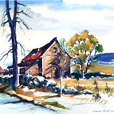 Rustic House - Watercolor Painting by Russ Bolt
