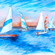 Sailing - Watercolor Painting by Russ Bolt