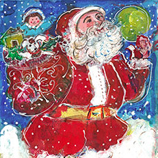 Santa Has a Puppy Original Painting by Sue Bolt