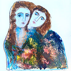 Sisters - Original Collograph Artist Proof