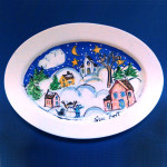 Snow Village - Oval Platter by Sue Bolt