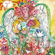 Spring Flowers Angel Painting by Sue Bolt