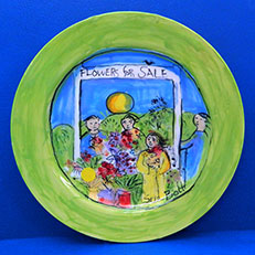 Spring Flowers For Sale Round Plate by Sue Bolt
