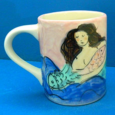 Summer Mermaid Large Mug by Sue Bolt