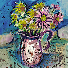 Summer Flowers in a Pitcher Painting by Russ Bolt