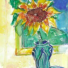 Sunflower Original Painting by Sue Bolt