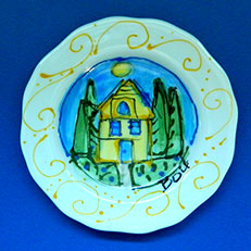 Sunshine Cottage - Small Scalloped Dish by Sue Bolt