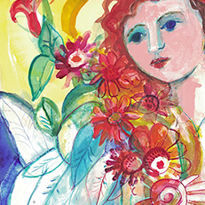 The Flowers of June Angel Painting by Sue Bolt