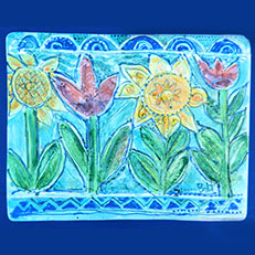 Tulips & Sunflowers Large Framed Relief Tile by Sue Bolt