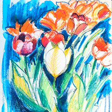 Tulips - Watercolor Painting by Russ Bolt