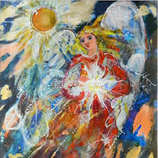 Waiting for Spring Angel Original Painting by Sue Bolt
