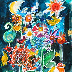 Winter In My Imaginary Garden Print by Sue Bolt