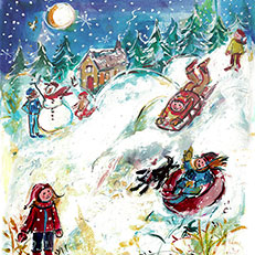 Winter Tubing Original Painting by Sue Bolt