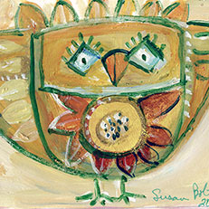 Yellow Bird Note Card by Sue Bolt